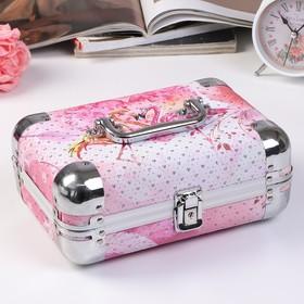 "Шкатулка металлокаркас чемодан ""Фламинго у сердца"" с блёстками 10х24х16,5 см"