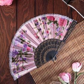 """Fan plastic, textile """"Flowers"""" lace, gold MIX 23 cm"""