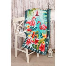 Полотенце вафельное «Фламинго», размер 80х150 см
