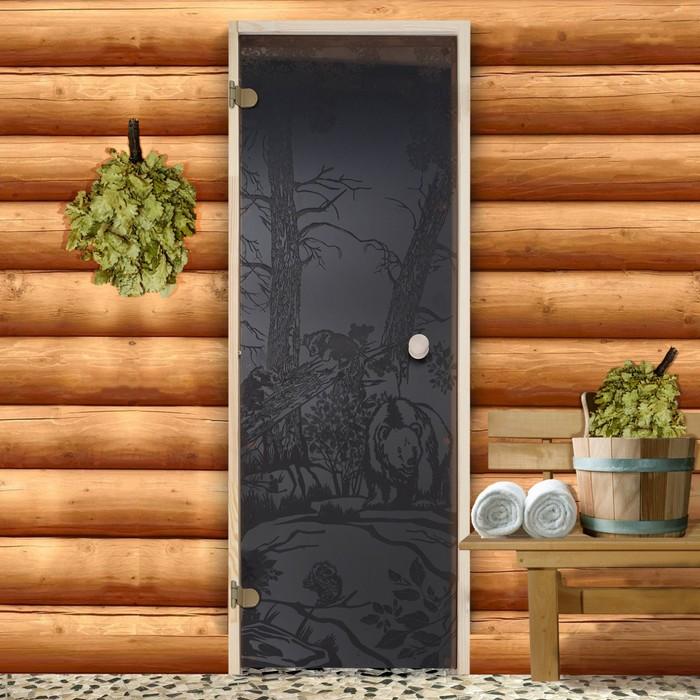 """Дверь для бани и сауны стеклянная """"Мишки"""", 190×70см, 6мм, бронза"""