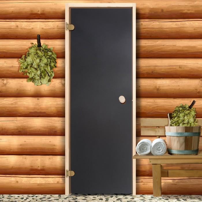 Дверь для бани и сауны стеклянная, 190×70см, 6мм, бронза, левое открывание