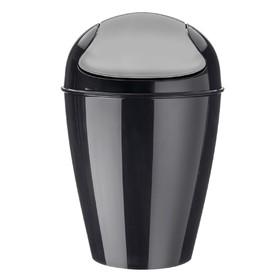 Корзина для мусора с крышкой Del m, 12 л, чёрная
