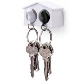 Держатель+брелок для ключей двойной Mini sparrow, белый/чёрный