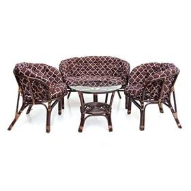 Комплект кофейный БАГАМА (стол+2 кресла+диван, подушка твил с принтом)