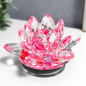 "Сувенир стекло ""Розовый лотос на подставке"" вращается 5,5х9х9 см"