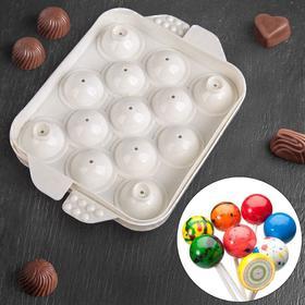 Форма для льда и шоколада «Сфера», 16×12 см, 13 ячеек, цвет белый