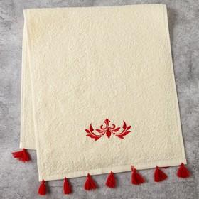 Полотенце махровое Этель «Узор» 30×60 см белый, 100% хлопок, 340 г/м²