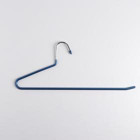 Вешалка металлическая прорезиненная для брюк и ремней, 30×11 см, цвет синий