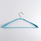Вешалка-плечики для одежды с резиновым покрытием, размер 44-46, широкие плечики, цвет голубой