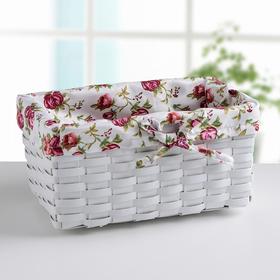 Корзина для хранения плетёная «Розы», цвет белый