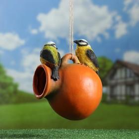 "Подвесной декор - кормушка ""Кувшин с птичками"" 21х18х15см"