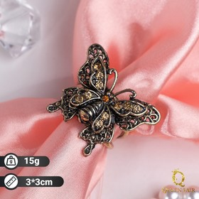 """Ring shawl """"Butterfly"""", the color brown in blackened gold"""