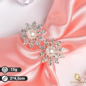 """Ring shawl """"Flowers with beads"""" mini, white in silver"""