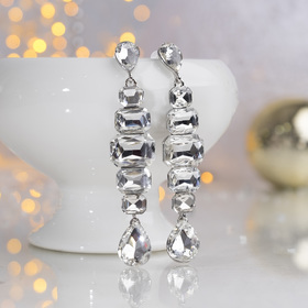 """Hanging earrings with rhinestone """"Party"""" catwalk, colour silver in silver"""