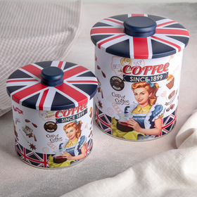 Набор банок для сыпучих продуктов 2 шт Coffee, круглые: 13х16/13х12,5 см
