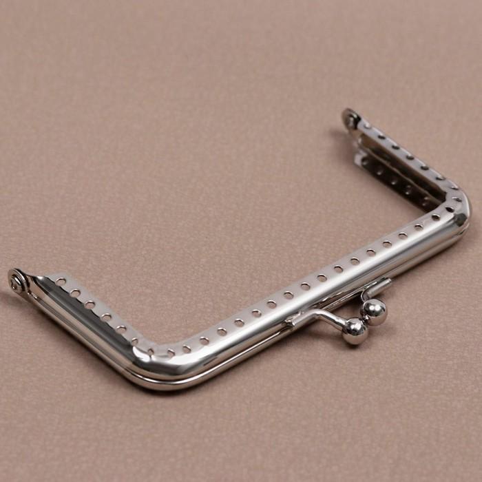 Фермуар пришивной «Прямоугольник», 10 см, цвет серебряный - фото 688901