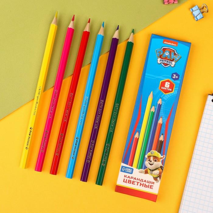 Карандаши цветные, 6 цветов, PAW PATROL