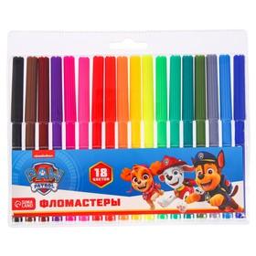 Фломастеры цветные, 18 цветов, PAW PATROL