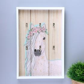 "Крючки декоративные дерево ""Лошадь с цветами в гриве"" 30х20,2х3 см"