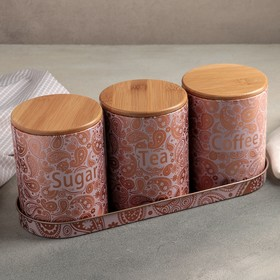 {{photo.Alt || photo.Description || 'Набор банок для хранения 3 шт 1 л «Сахар.Чай.Кофе» 33,5х12х14 см'}}