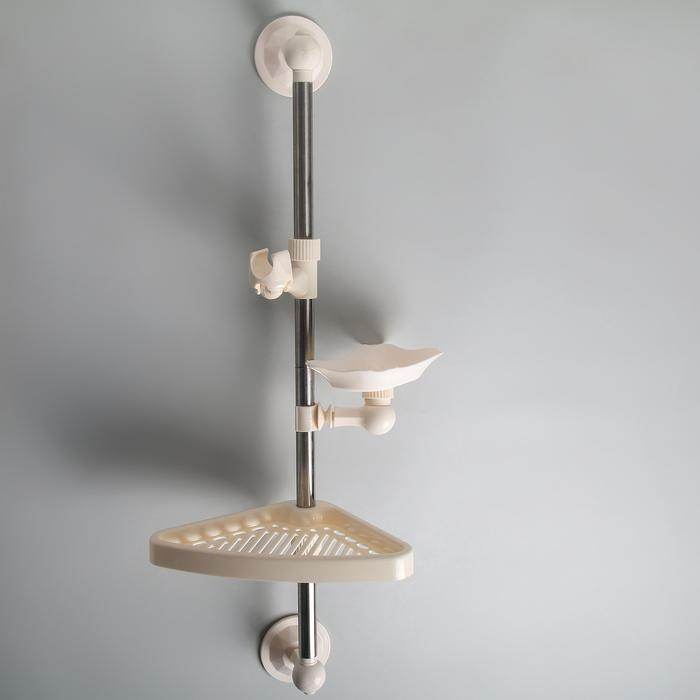 Полка универсальная, (мыльница, полочка, держатель для душа), на вакуумной присоске, 65 см