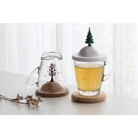 Чашка с крышкой Winter, 250 мл, белая с зелёным