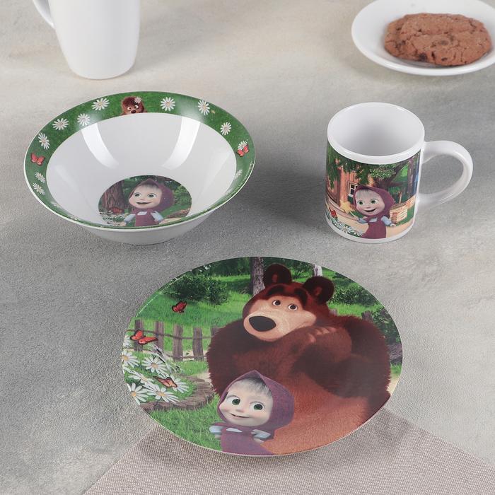 "Набор 3 пр. ""Маша и Медведь. Ромашки"": кружка 240 мл, миска 18 см, тарелка 19 см"