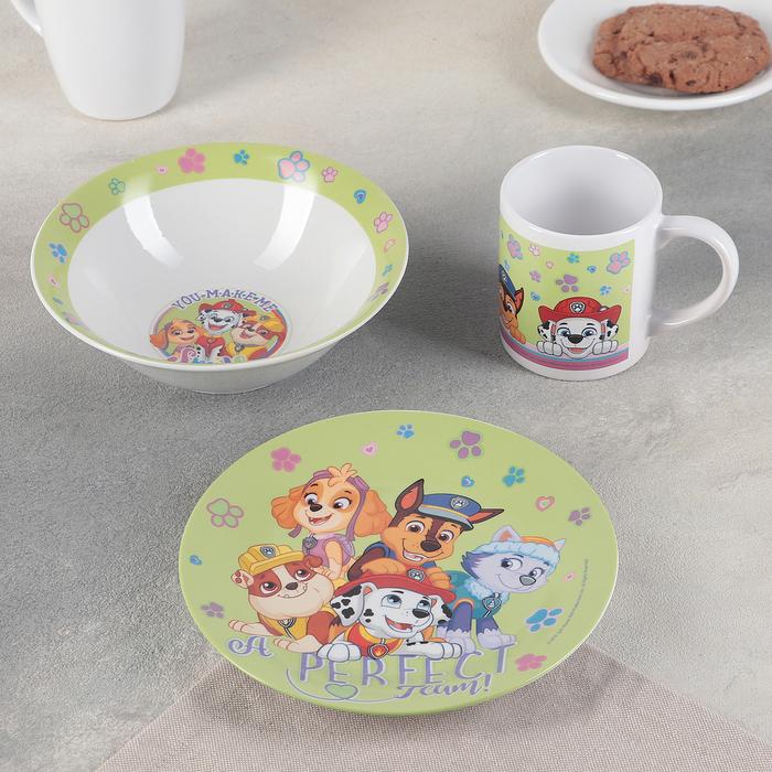 Набор посуды «Щенячий патруль», 3 предмета: кружка 240 мл, миска 18 см, тарелка 19 см
