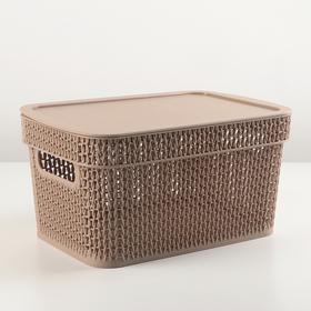 Корзина для хранения с крышкой Ajur, 5 л, цвет кофейный