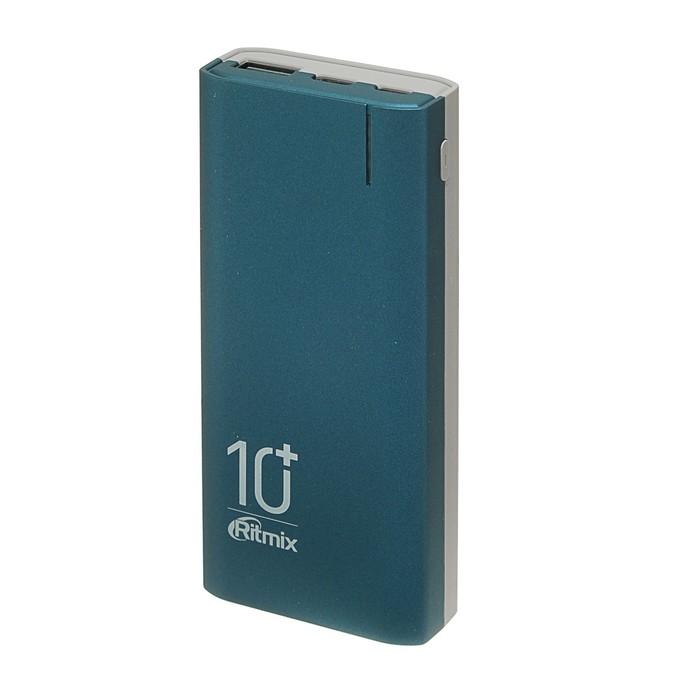 Внешний аккумулятор Ritmix RPB-10002, 10000 мАч, 1хUSB 2.1 А, индикатор зарядки, синий