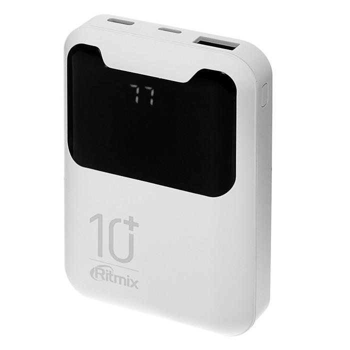 Внешний аккумулятор Ritmix RPB-10005, 10000 мАч, 1хUSB 2.1 А, LED дисплей, белый