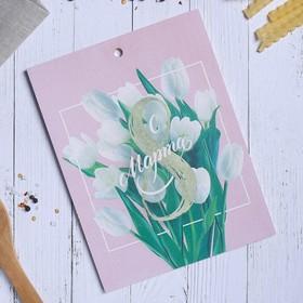 "Cutting Board ""White tulips"", 16 × 21 cm"