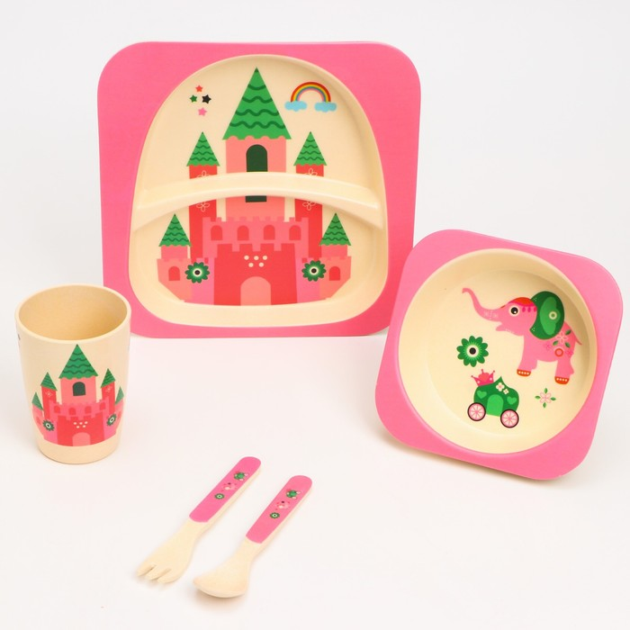 Набор детской бамбуковой посуды «Бычок», тарелка, миска, стакан, приборы, 5 предметов