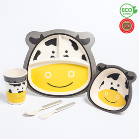 """A set of bamboo dishes """"Cow"""" plate, bowl, Cup, Cutlery, 5-piece"""