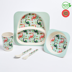 """A set of bamboo utensils """"Toucan"""", plate, bowl, Cup, Cutlery, 5-piece"""