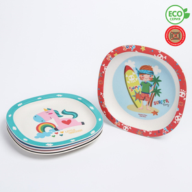 Тарелка из бамбука, рисунок МИКС