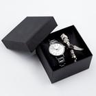 """Подарочный набор 2 в 1 """"Каабон"""": наручные часы и браслет микс"""