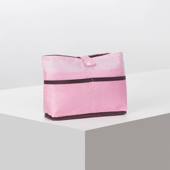 Косметичка дорожная, отдел на кнопке, 7 наружных карманов, цвет розовый