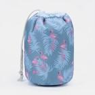 Косметичка дорожная, отдел на шнурке, с кошельком, цвет серый - фото 1765927