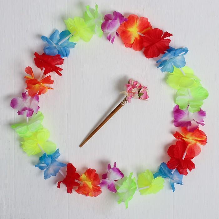 """Гавайский набор """"Жрица"""", (ожерелье, палочка для волос)"""