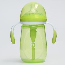 Бутылочка для кормления Happy Baby, с ручками и силиконовой соской, цвет lime, 300 мл