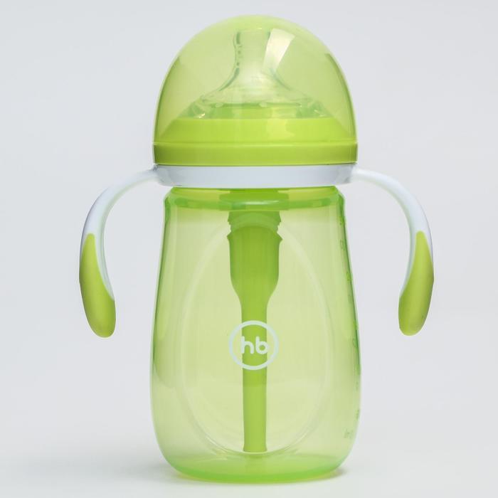 Бутылочка для кормления Happy Baby, с ручками и силиконовой соской, цвет lime, 300 мл - фото 977977