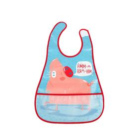 Нагрудник на липучке Happy Baby, от 6 месяцев, цвет blue
