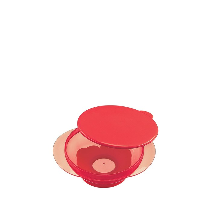 Тарелка детская Happy Baby, на присоске с крышкой, от 8 месяцев, цвет ruby