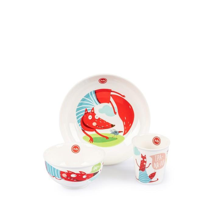 Набор детской посуды Happy Baby: тарелка, миска, стакан, от 12 месяцев