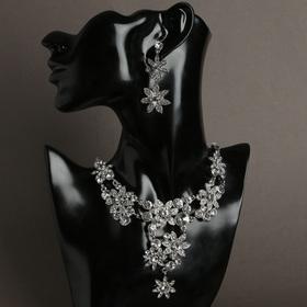 """Набор 2 предмета: серьги, колье """"Цветок"""" примула, цвет белый в серебре"""