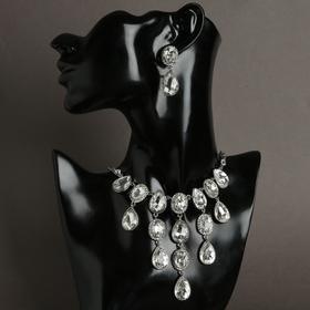"""Набор 2 предмета: серьги, колье """"Волшебный век"""" капля округлённая, цвет белый в серебре"""