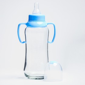 Feeding bottle with handles, glass, 240 ml., MIX color