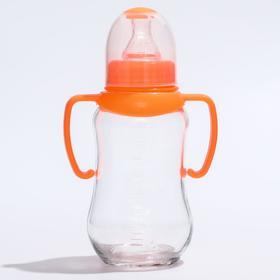 Бутылочка для кормления 175 мл., стекло, с ручками, цвет МИКС