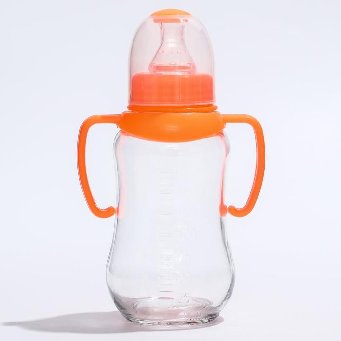 Бутылочка для кормления 175 мл., стекло, с ручками, цвет МИКС - фото 105537441